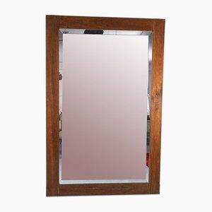 Vintage Brown Wood Rectangular Mirror, 1970s