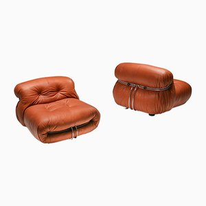 Vintage Soriana Lounge Chairs by Tobia & Afra Scarpa for Cassina, 1970s, Set of 2