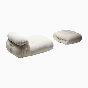 Mid-Century Bouclé Soriana Lounge Chair and Ottoman Set by Tobia & Afra Scarpa for Cassina, 1960s