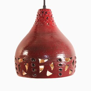 Danish Brutalist Red Ceramic Hanging Lamp by Jette Helleroe, 1970s