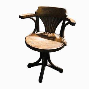 Silla de escritorio de madera con reposabrazos, años 20