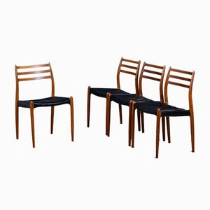 Vintage Model 78 Dining Chairs by Niels Otto Møller for J.L. Møllers, 1960s, Set of 4