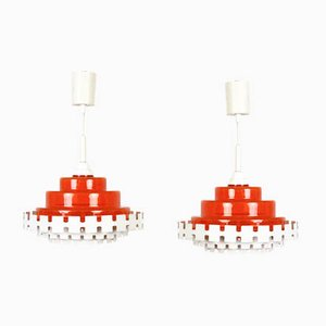 Glass Pendant Lamps with Metal Shades from Doria Leuchten, 1970s, Set of 2