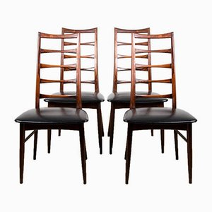 Danish Brazilian Rosewood Model Liz Chairs by Niels Koefoed for Koefoeds Hornslet, 1960s, Set of 4