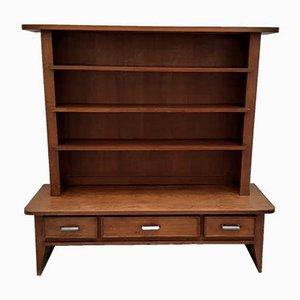 Oak Bookcase with 3 Drawers & Aluminium Handles by René Gabriel, 1940s