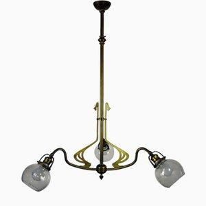 Antique Art Nouveau Brass & Cut Glass 3-Light Ceiling Lamp
