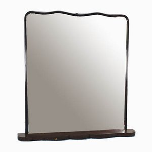 Vintage Modern Dark Brown Wood Mirror, 1950s