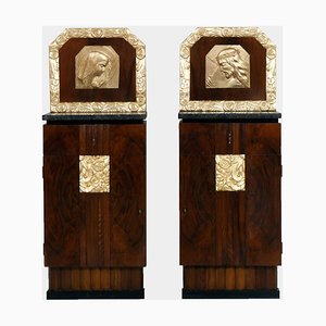 Art Deco Walnut & Burl Walnut Nightstands with Gold Leaf on Hand-Carved Images, 1920s, Set of 2