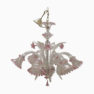 Italian Transparent and Pink Murano Glass Chandelier, 1980s