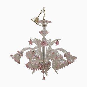 Lámpara de araña italiana de cristal de Murano transparente y rosa, años 80
