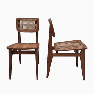 Modell CB Esszimmerstühle mit geflochtenem Sitz von Marcel Gascoin für Arhec, 1950er, 2er Set