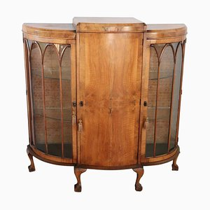 English Walnut Vitrine, 1920s