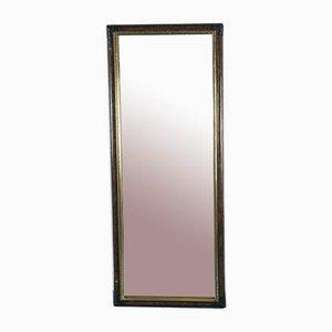Specchio vintage in bambù, legno marrone ed ottone, anni '70