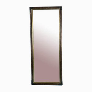 Vintage Bamboo, Brown Wood & Brass Mirror, 1970s
