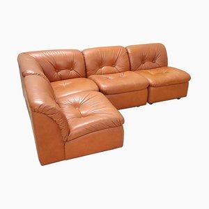 Italian Leather Modular Corner Sofa, 1980s, Set of 4