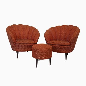 Armchairs & Ottoman in the Style of Gio Ponti, Italy, 1950s, Set of 3