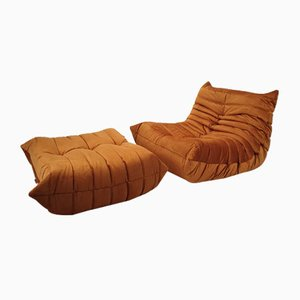 Togo Lounge Chair & Ottoman by Michel Ducaroy for Ligne Roset, 1987, Set of 2