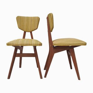 Oak & Leatherette Dining Chairs by Pierre Cruège, 1950s, Set of 2