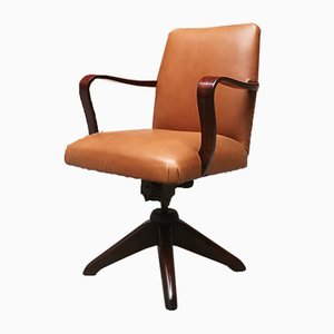 Mid-Century Modern Italian Leather & Rosewood Office Swivel Armchair, 1970s