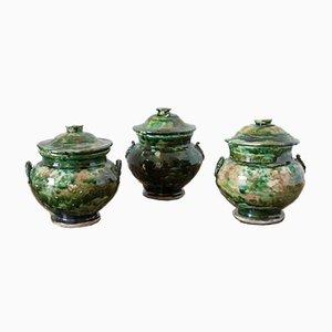 Italian Ceramic Capsule Jars, 1940s, Set of 3