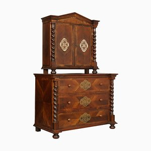 19th Century Austrian Chest of Drawers in Walnut, Veneer Walnut & Silver Inlaid
