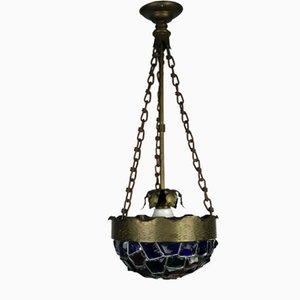 Antique Art Nouveau Berliner Colorful Hump Glass & Brass Ceiling Lamp