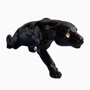 Art Deco Ceramic Panther Figurine, France, 1930s