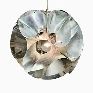 Lampada da soffitto Space Age in alluminio, anni '70