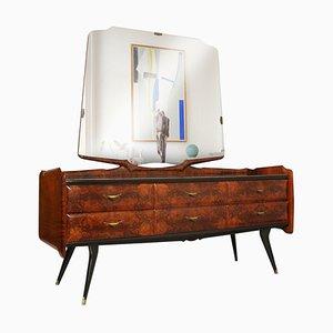 Credenza Mid-Century con specchio in stile Osvaldo Borsani di Cantù & Palazzi dell'Arte, anni '50