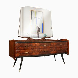 Mid-Century Mirrored Dresser Sideboard in the Style of Osvaldo Borsani from Cantù & Palazzi dell'Arte, 1950s