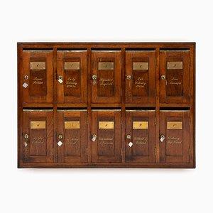 English Wall Mounted Oak Indoor Post Box, 1930s