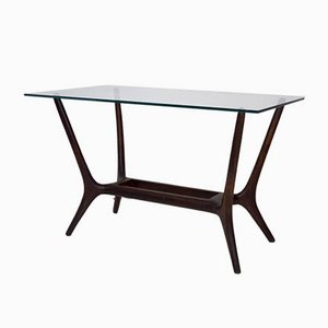 Mid-Century Modern Italian Coffee Table in Mahogany and Glass, 1950s