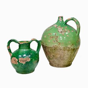 Antique French Green Terracotta Water Jug Cruche & Olive Oil Jug Set, Set of 2