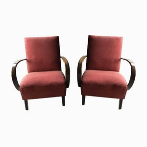 Red Lounge Chairs by Jindrich Halabala for UP Zavody, 1930s, Set of 2