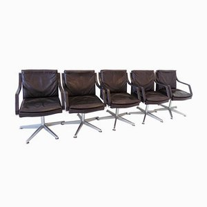 Leather Swivel Conference Chairs by Rudolf Glatzel for Dreipunkt, 1980s, Set of 5