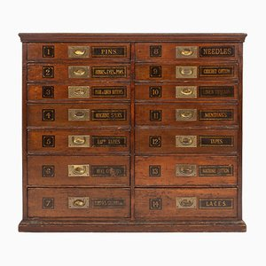 English Oak & Brass Fitted Doctors Cabinet Drawers, 1930s