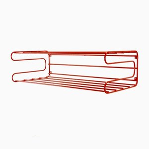 Vintage Red Wall Rack in the Style of Pilastro or Tomado from Ikea, 1980s
