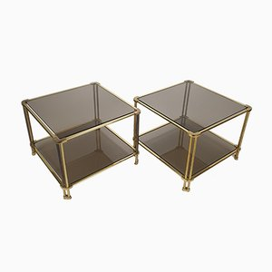 Massive Brass and Smoked Glass Side Tables, 1970s, Set of 2