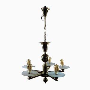 Art Deco Brass 5-Light Chandelier, 1930s