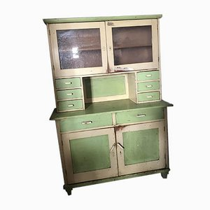 Vintage Glass & Painted Wood Kitchen Cupboard, 1930s