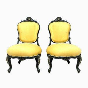 Napoleon III Black Lacquered Wood & Patinated Bronze Half-Shepherdesses Chairs, Set of 2