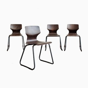 Vintage Pagwood Dining Chairs by Elmar Flötotto for Flötotto, 1970s, Set of 4