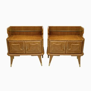 Mid-Century Modern Nightstands in Ashwood, Italy, 1950s, Set of 2