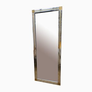 Large Italian Brass and Metal Chrome Mirror by Renato Zevi. 1970s