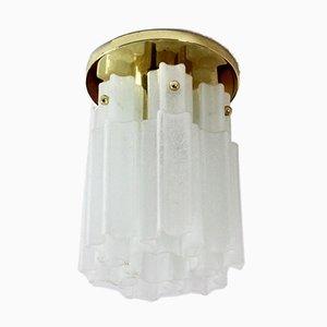 Messing & Milchglas Deckenlampe von Glashütte Limburg