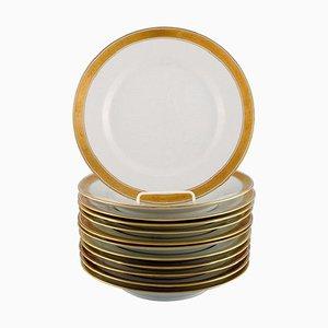 White Porcelain Dagmar Dinner Plates with Gold Edge from Royal Copenhagen, Set of 12