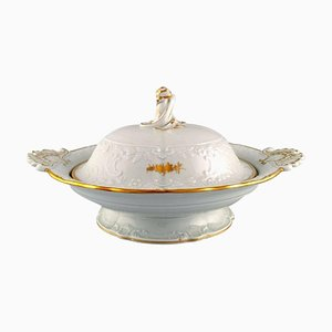Large Meissen Porcelain Lidded Tureen with Flowers and Foliage in Relief