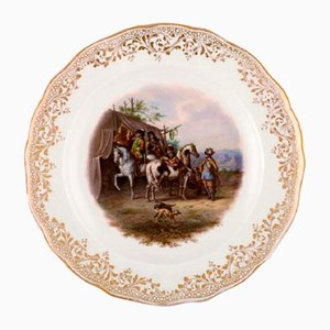 Antique Meissen Decoration Plate in Hand-Painted Porcelain with Hunting Motif
