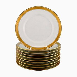 White Porcelain Dagmar Dinner Plates with Gold Edge from Royal Copenhagen, Set of 10