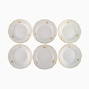 Meissen Plates with Flowers and Foliage in Relief and Gold Edge, Set of 6